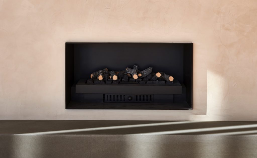 Polished plaster fireplace in blush tones lindsay st
