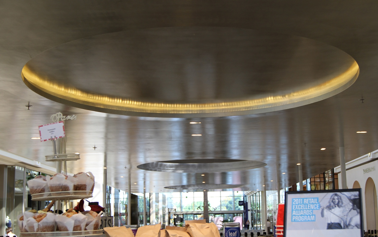 Silver leaf ceiling at cafe in chadstone shopping centre