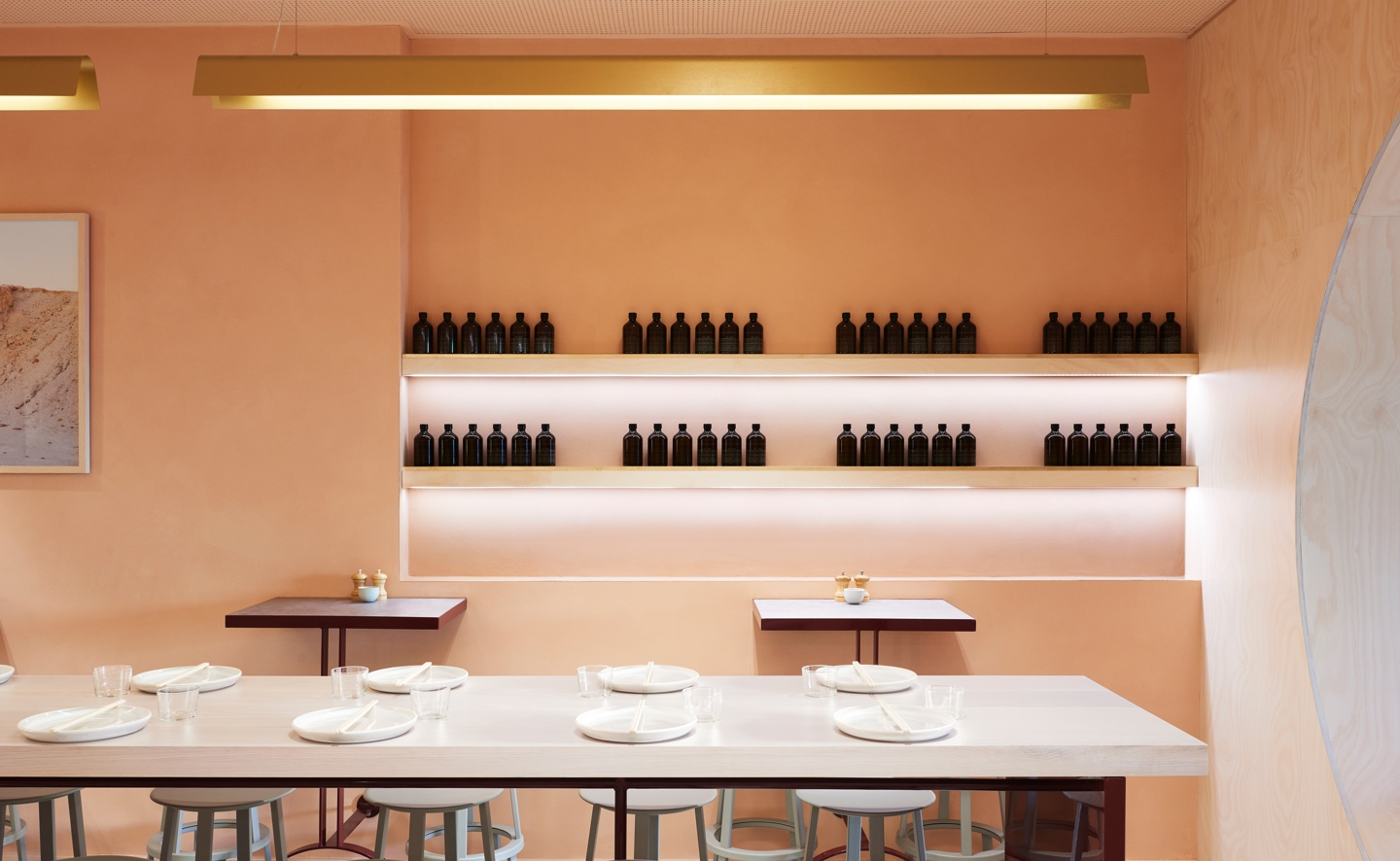 large shared table in front of well lit pink wall done in velvet cremorne plaster finish.