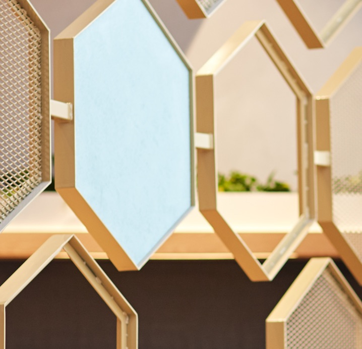 Closeup of honeycomb design detail axil coffee