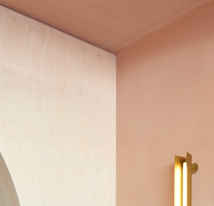 pink velvet cremorne wall finish with light fitting