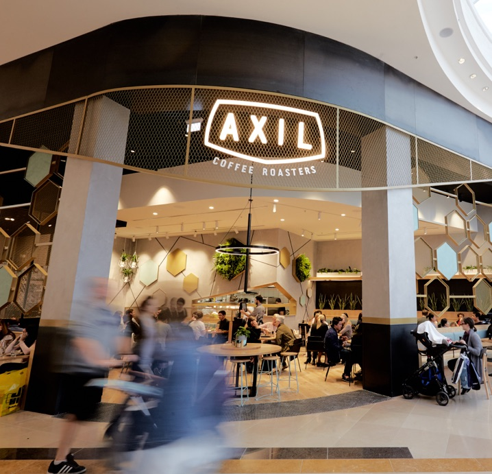 Concrete wall finish Kelso at Axil Coffee Roasters Chadstone shopping centre