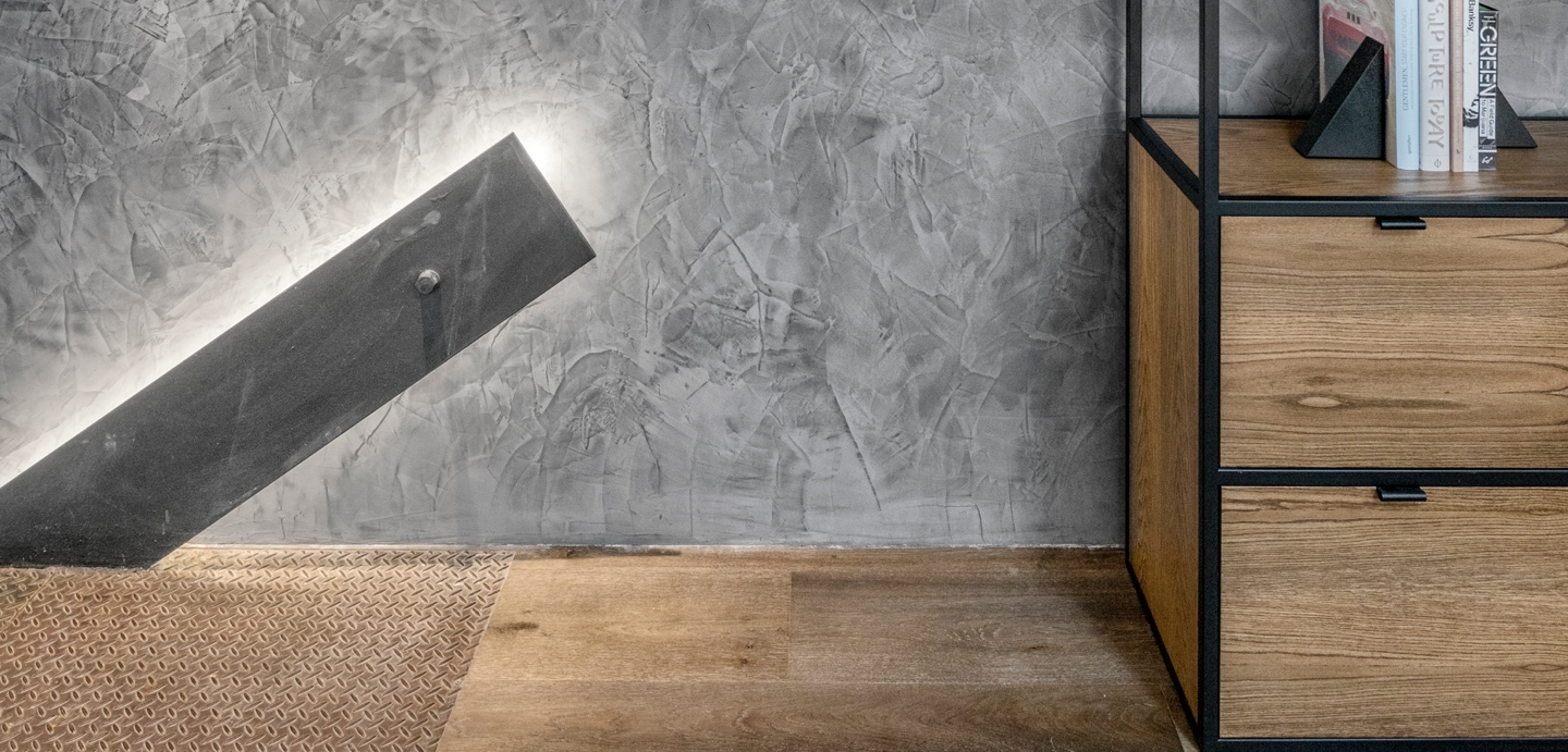 grey polished plaster wall private residence melbourne