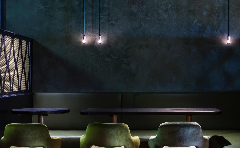 Diesel Bar Melbourne featuring blue polished plaster
