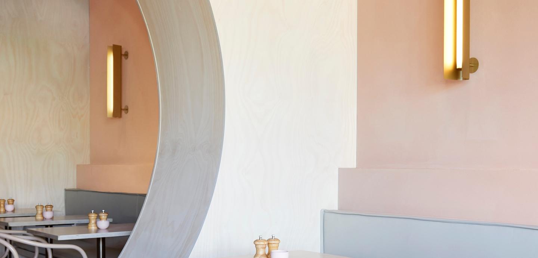 Workshop bros velvet pink curved wall section