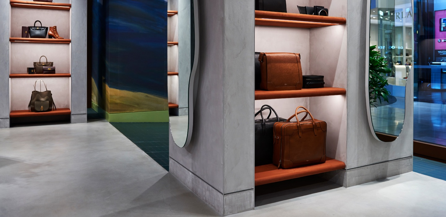 BIshop Concrete Kelso wall finish featured in Mulberry Luxury handbag store melbourne