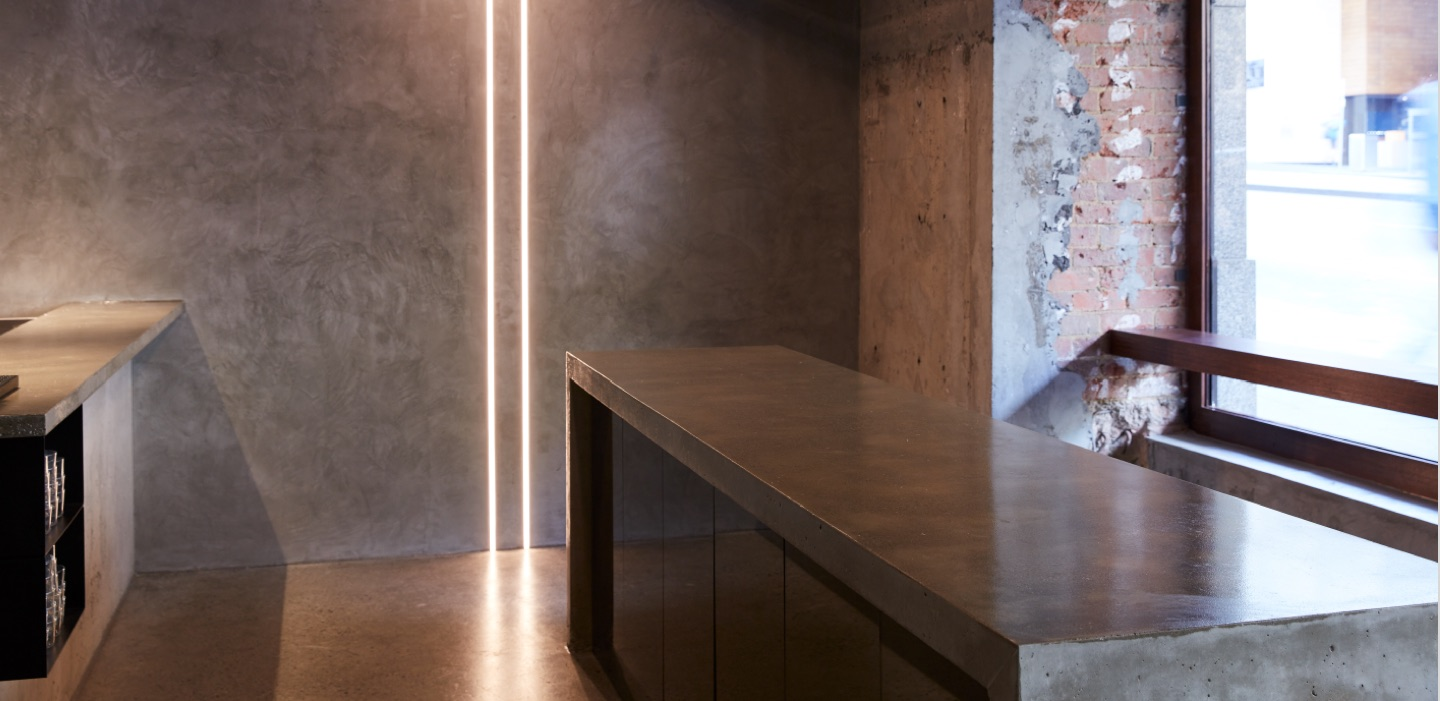 bishop master finishes concrete kelso wall featured at Lune Croissant melbourne CBD lune fitzroy