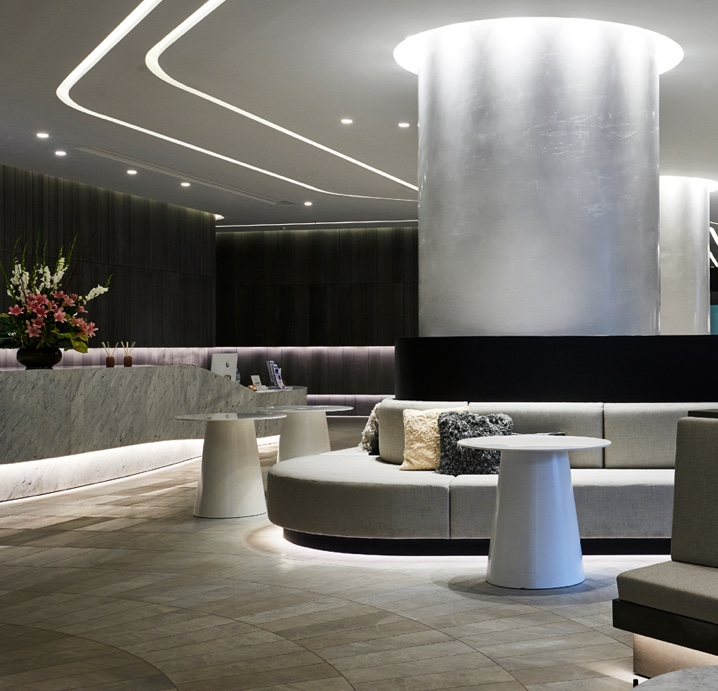Polished Plaster columns at Aurora Apartments foyer Melbourne Sydney