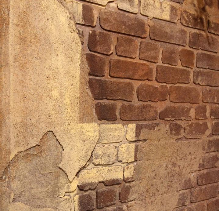Custom wall finish distressed brickwork