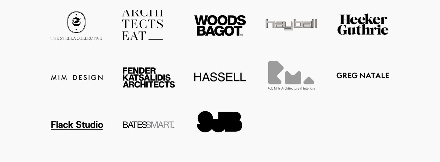 Logos of Architects that Bishop Master Finishes regularly work with. Including The Stella Collective, Architectseat, Woods Bagot, Hayball, Hecker Guthrie, Mim Design, Fender Katsalidis Architects, Hassell, Rob Mills, Greg Natale, Flack Studio, Bates Smart, SJB